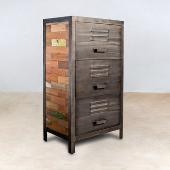 Meuble de rangement bois recyclé 3 tiroirs métal 60x40x110cm CARAVELLE