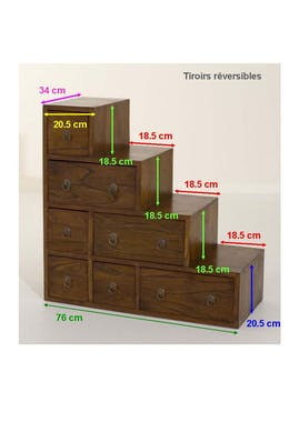 Meuble escalier double face 76x76cm LOLA