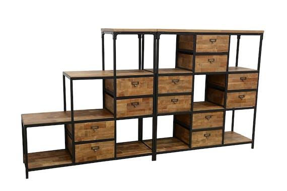 Meuble Escalier Double Faces 4 tiroirs, 4 niches cubes ouvertes en Hévéa recyclé naturel et métal 120x40x128cm LOFT