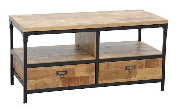 Meuble TV 2 tiroirs, 2 niches ouvertes en Hévéa recyclé naturel et métal 100x45x50cm LOFT