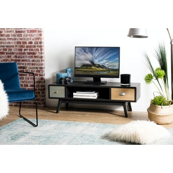 Meuble TV en bois et metal fonce de style vintage
