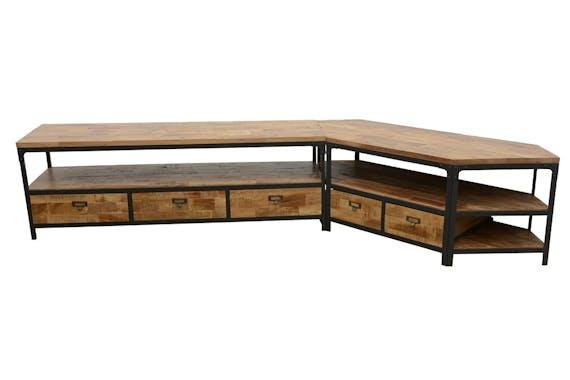 Meuble TV 3 tiroirs, 1 grande niche ouverte en Hévéa recyclé naturel et métal 150x45x50cm LOFT