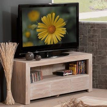 Meuble TV en bois trois tiroirs de style contemporain