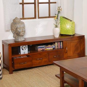 Meuble TV en bois trois tiroirs une porte de style exotique