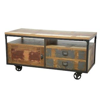 Meuble TV à roulettes 1 porte, 2 tiroirs, 2 niches en Hévéa recyclé coloré et métal 120x50x60cm LOFT COLORS