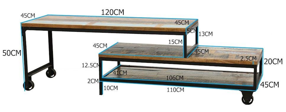 Meuble TV à roulettes en 2 parties, 3 grands plateaux en Hévéa recyclé naturel et métal 120x45x50cm LOFT