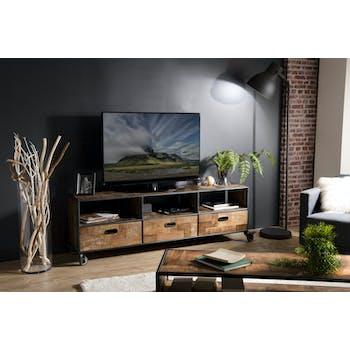 Meuble TV en bois recycle et metal avec roulettes de style contemporain