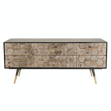 Meuble TV en bois et metal six tiroirs de style vintage