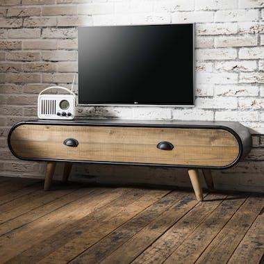 Meuble TV en bois et metal de style vintage