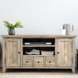 Meuble tv avec rangement bois recyclé clair SALERNE