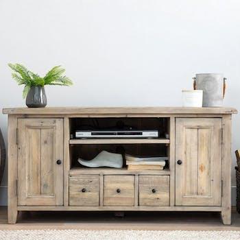 Meuble TV en bois recycle FSC clair de style campagne