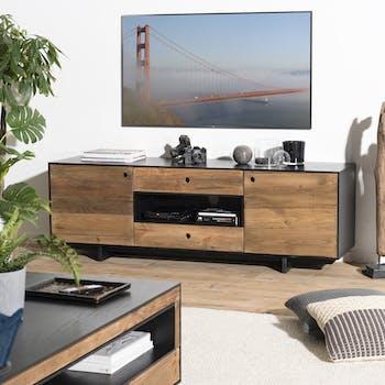 Meuble tv avec rangement bois recyclé pin CRACOVIE