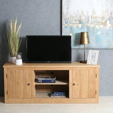 Meuble TV en bois massif deux portes de style classique