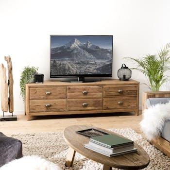 Meuble tv avec rangement en bois de pin recyclé DENVER