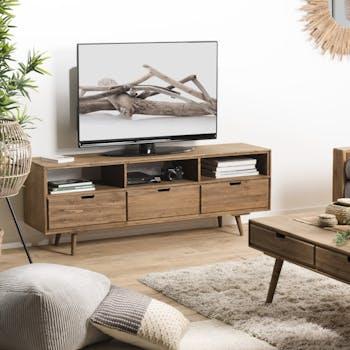 Meuble tv avec rangement en bois de sapin LIMA