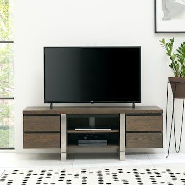 Meuble tv avec rangement en chêne et métal brossé RIMINI