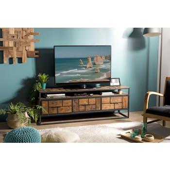 Meuble TV en bois recycle et metal de style contemporain