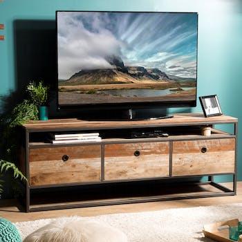 Meuble TV en bois recycle et metal trois portes de style contemporain
