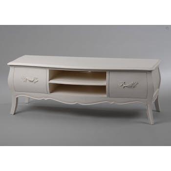 Meuble TV en bois blanc deux tiroirs de style romantique