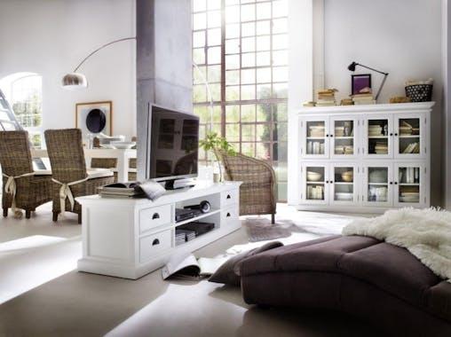 Meuble TV en bois blanc de style bord de mer