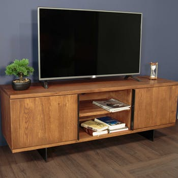 Meuble TV en bois massif deux portes de style contemporain