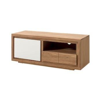 Meuble TV bois bicolore naturel / laqué blanc en Chêne massif 1 porte, 1 tiroir, 1 niche 128x40x50cm MALMOE