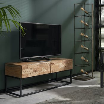 Meuble TV en bois pieds metal deux tiroirs style contemporain