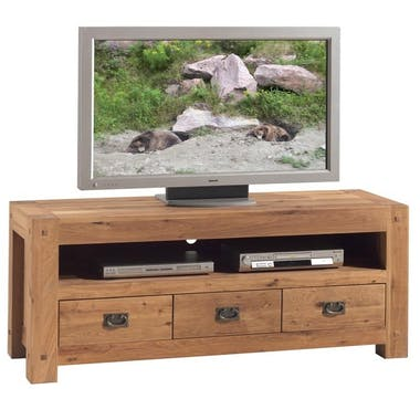 Meuble TV en bois trois tiroirs de style campagne