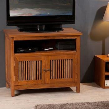 Meuble TV en bois deux portes de style exotique
