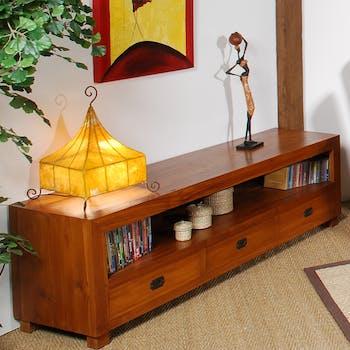 Meuble TV en bois trois tiroirs de style exotique