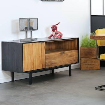 Meuble tv bois de teck recyclé noir et naturel KANPUR