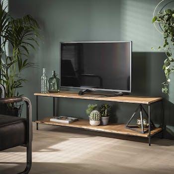 Meuble tv bois massif d'acacia bordure naturelle MELBOURNE