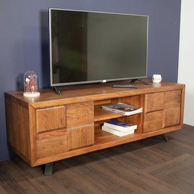 Meuble TV bois massif fonce en damier de style contemporain