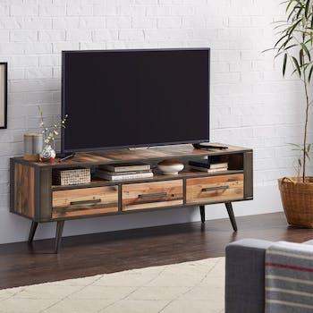 Meuble tv bois recyclé 3 tiroirs SEATTLE