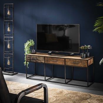 Meuble tv bois recyclé brut acier 3 tiroirs WELLINGTON