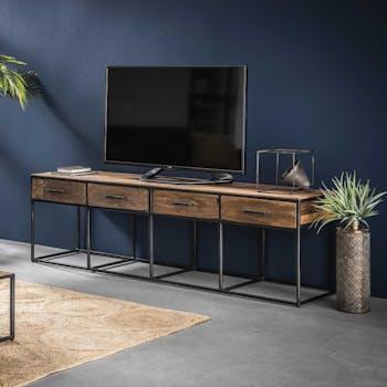 Meuble tv bois recyclé brut acier 4 tiroirs WELLINGTON