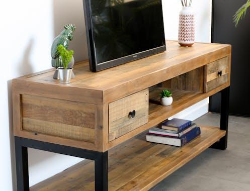 Meuble TV en bois reycle FSC deux tiroirs style industriel