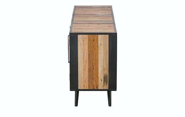 Meuble tv bois recyclé rotin 3 portes OSTENDE