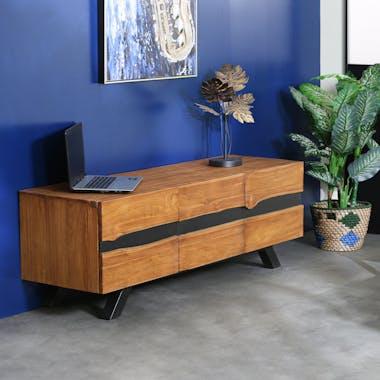 Meuble tv bois recyclé teck laque noire BARBADE