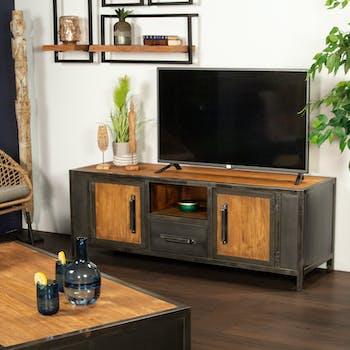 Meuble tv bois recyclé teck métal vieilli CLEVELAND