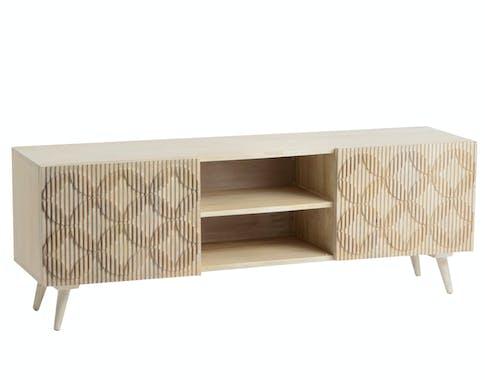 Meuble TV en bois deux portes de style contemporain