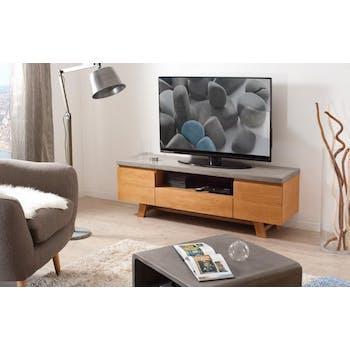 Meuble TV bois et beton deux portes de style contemporain