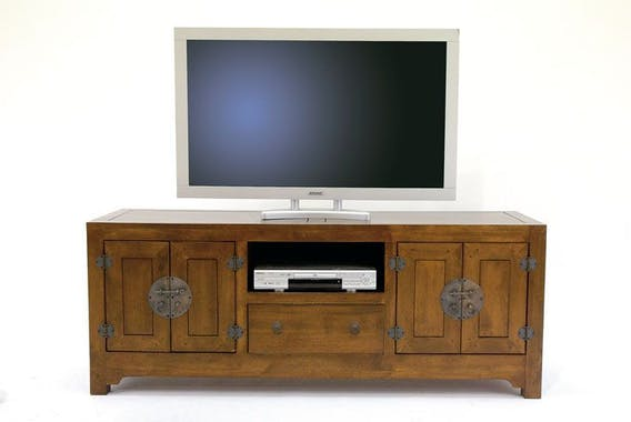 Meuble TV chinois asiatique 4 portes 1 tiroir hévéa 160cm MAORI