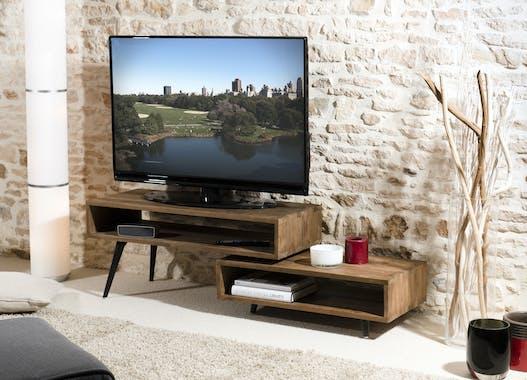 Meuble TV bois recycle et metal deux niches de style contemporain