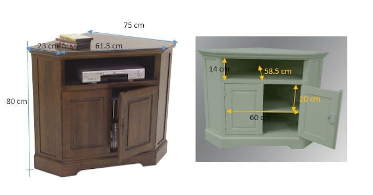 Meuble TV d'angle 2 portes hévéa 105cm TRADITION