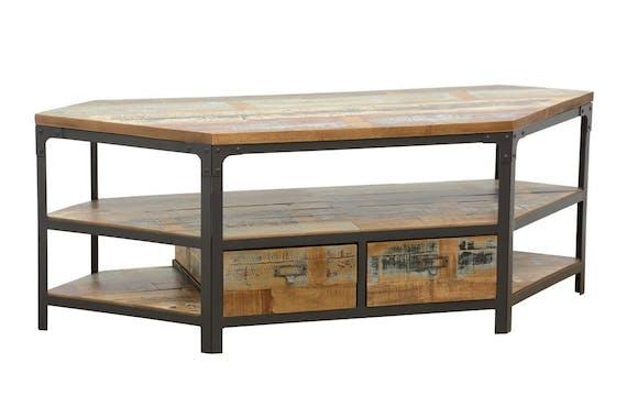 Meuble TV d'angle 2 tiroirs, 3 niches ouvertes dont une grande en Hévéa recyclé coloré et métal 105x45x50cm LOFT COLORS