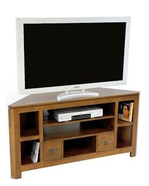 Meuble TV d'angle bois massif HELENA