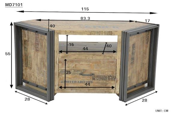 Meuble TV d'angle hévéa recyclé naturel et métal noirci 1 tiroir 1 niche 115X40X55cm DOCKER