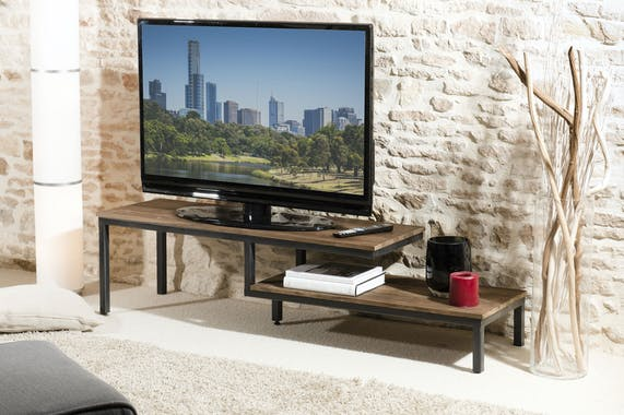 Meuble TV bois recycle et metal deux plateaux de style contemporain