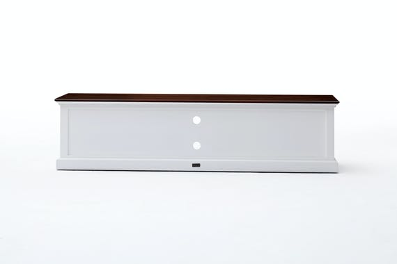 Meuble TV en bois blanc quatre tiroirs de style bord de mer